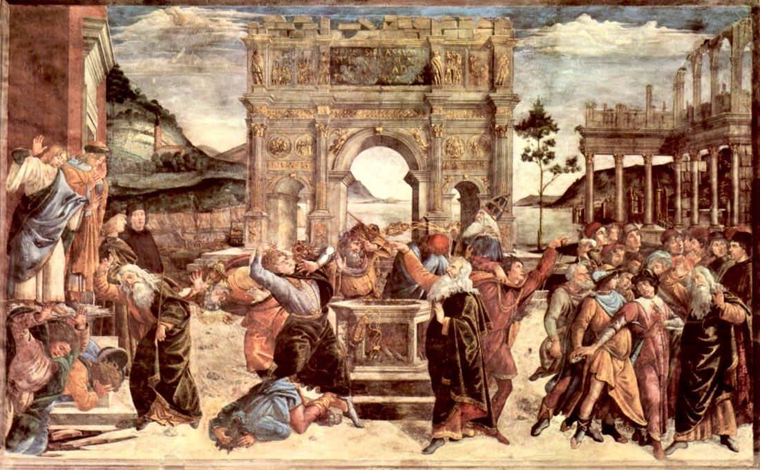 Sistine Chapel - punishing the Levites detail [2] - Botticelli